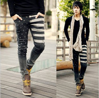 american flag jeans for sale - Hot Sale New Printed American Flag Skinny Jeans Men Slim Pencil Pants For Men Famous Brand Black Jeans Size Free