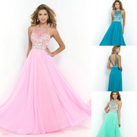 Pink Chiffon Halter Prom Dance Dresses 2014 Sheer Illusion C...