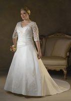 Wholesale 2014 The Latest Plus Size A line Wedding Dress Taffeta V neck Ruffles Appliques New Cheap fat Lady Charming Custom Made Half Sleeve Long