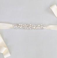 Wholesale Simple Bridal Swarovski Crystal Wedding Sash Beads Wedding Belt Bridal Accessories Handmade Custom Made Fastness Crystal Leaves Belts