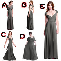 Reference Images A-Line V-Neck Custom Made Sexy Plunging Neckline A Line Floor Length Back Criss Cross Straps Chiffon Gray Bridesmaid Dresses Convertible Dresses