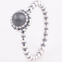 Wholesale RIP112D New Arrival Original Sterling Silver Ring Clear Crystal Round Dot Rings Suitable For European Pandora Charm Bead Jewelry