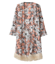 Wholesale 2014 New European and American women s Printed Fringed Shawl Sweater Chiffon Kimono Cardigan Coat Jacket