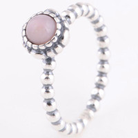 Cheap Promotion 1:1 Original 925 Sterling Silver RIP112J Pink Opal Rings Suitable For European Pandora Charm Bead Jewelry