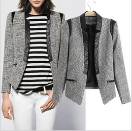 Wholesale CL796 European Style Famous Brand New Z Woolen PU Leather Jacket Suits Outerwear Spring Fall Winter Women Lady