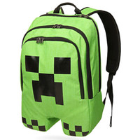 Wholesale NEW Minecraft backpack game creeper backpack children school bags boys mochila double shoulder bag block coolie kids school bag