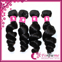 Wholesale virgin brazilian loose wave hair weaves human weft hair extension b natural black color wavy inch DHL