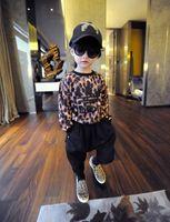 Cheap Leopard Printed AD Fleece Tshirts Girls Tee Shirt Children Fleece T-Shirts Long Sleeve 2014 Autumn Tops Europe Style Clothes Outwear J1855