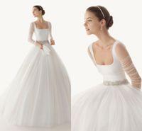 Wholesale 2014 Vestidos De Noiva Modest Wedding Dresses with Sleeves Tulle Floor Length Princess Bridal Dress china