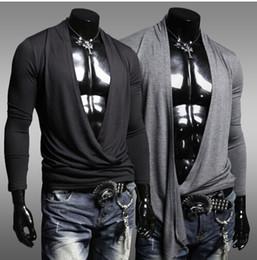 Wholesale 2014 Novelty fashion models Mens summer leisure T shirt fashion slim long sleeve T shirt Size M XXL