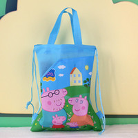 Wholesale peppa pig cartoon pink pig hand woven drawstring pouch young girl selling foreign trade HL