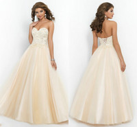 Wholesale Cheap Corset and Tulle Prom Dresses Champagne Party Gowns Beaded Lace Appliques Full Length Ball Gown Quinceanera Debutante Gowns Sale
