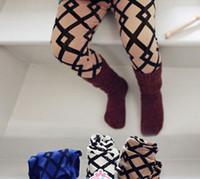 Winter Autumn Thicket Warm Woolen Girls Trousers Plaid Skinn...