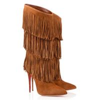 Cheap New Woman Long Boots Brown Deerskin Leather Over The Knee Boots Stiletto Heel Pointed Toes Tassel Euramerican Style Night Club Heel 12cm