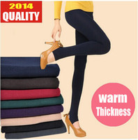 color jeans - New Winter Autumn Warm Thickness Women Tights D villi skinny slim Candy Color Crop Jeans Plus Size
