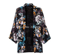 Cheap 2014 New European And American Women's Brand Quality Clothing Color Printing Loose Casual Fashion Jackets Kimono Jacket Coat