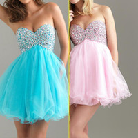 Cheap Under $100 2~16 us size In Stock Real Sample Corset Sweet-heart Beaded Blue Tulle Sequins Homecoming Short Prom Dress Gown Dresses 2015