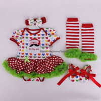 Girl baby dress suit - Christmas Children Set Kids Suit Outfits Girl Dress Baby Rompers Infant Flower Shoes Kids Sock Girl Headbands Children Clothes Kids Clothing