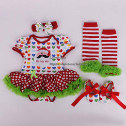 Wholesale Christmas Children Set Kids Suit Outfits Girl Dress Baby Rompers Infant Flower Shoes Kids Sock Girl Headbands Children Clothes Kids Clothing