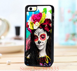 Wholesale day of the dead makeup Design Print On Cross Pattern PU Leather Hard Black for iphone s g th Case Cover