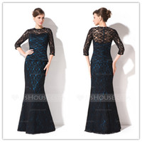 Wholesale 2014 Gorgeous Mother Dresses Sheath Lace Material Crew Sleeves Natural Wasit Zipper Back Floor Length Mother Of Brides Dress SH000013