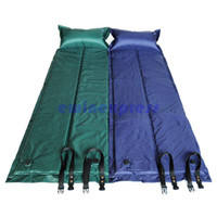 Wholesale 1x New Sponge Self inflating single Camping Mat Pad With Pillow Sport Outdoor Travel Green Blue