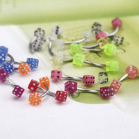 Wholesale 20pcs set Colorful Stainless Steel Dice Barbell Curved Eyebrow Rings Body Bars Tragus Piercing H11557