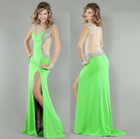 back drop - 2014 New Prom Dresses Evening Gowns With Sheer Sweet heart Mermaid Lime Green Chiffon Beads Pleats Hollow Back Drop Shipping Floor Length