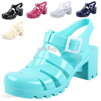 Wholesale Hot Sale Fashion summer women shoes Designer thick heel jelly Rome sandals gladiator colors P155 salebags