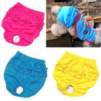 Оптово-Бесплатная доставка Pet трусы ужесточение хлопка собака физиологических штаны женские шорты небольшие менструального брюки нагрудник гигиенические трусы