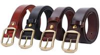 Wholesale Man First layer Cowskin belt Genuine Leather Belts for men Pin Bronze buckle colors Brand designer Cinturon M201 Cintos