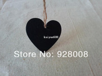 Wholesale Chalkboard Sign Wholesale - New in 2014 20pcs Free Shipping MINI HEART CHALKBOARD BLACKBOARD WITH STRING LABLE PLACE CARD WINE BOTTLE SIGN PATY WEDDING DECO