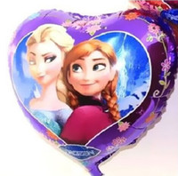 Wholesale 50Pcs New Arrival Frozen Princess Queen Elsa Cartoon Design Foil Ballon Party Holiday Balloon quot Heart shaped helium balloon