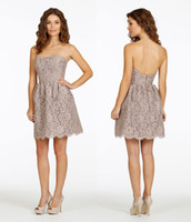 Cheap Reference Images Lace bridesmaid Dresses Best A-Line Strapless Short Prom Dresses 2014