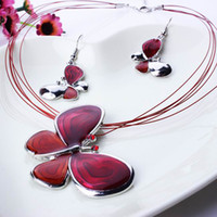 Wholesale Red Butterfly Pendent Necklace Earrings Set Elements Jewelry Rhinestone Jewelry Set For Party Christmas Presents TL9395