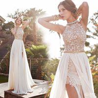 Bonemian prom dresses A line chiffon side slit lace backless...