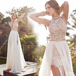 Wholesale Bonemian prom dresses A line chiffon side slit lace backless court train bridal gowns bling bling beads pearls Evening party gowns BO5557