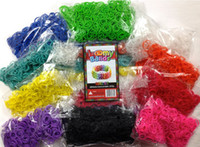 Wholesale Christmas sale Premium Rainbow Color Loom Bands Beautiful Colors Conveniently Separated Includes S Clips DHL FedEX Free