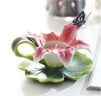 Wholesale Bainianhaoge arranged marriage room decorative items ceramic butterfly lily romantic relief Candlestick Candle Vaporizer