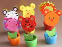 Wholesale Free Ship Mixed Korean Wooden D Animal Name Card Clip Holder Memo Message Clip Wedding Favors