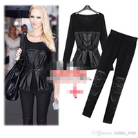 Cheap 2014 New Style Women Shirt Pant Suit Black Long Sleeve Sheer Shirts Panelled PU Leather Design Slim Pants Black Leggings