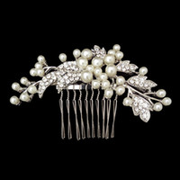 Wholesale Crystal Pearl Wedding Bridal Comb Hair Accessories Bridal Accessory Headpieces Jewelry Real photo