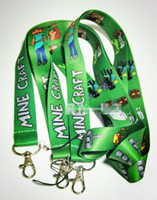 Wholesale Promotion Minecraft Lanyard MP3 cell phone keychains Neck Strap Lanyard Keychain Key ID long Straps Party Green