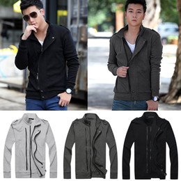 Wholesale Autumn and Winter New Men Two Zippers Sweatshirts Jacket Epaulettes Long Sleeves Slim Thin Coat hoody Outerwear Coats tracksuit G4028