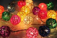 Wholesale Multi Color Handmade Rattan Balls String Lights Fairy Party Wedding Patio Decoration Christmas LED String lights