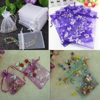 Wholesale 100pcs x9cm x12cm x18cm Small White Purple Green Pink Butterfly Christamas Wedding Drawable Organza Voile Gift Packing Bags Pouches