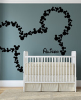 Graphic vinyl baby animal names - Cartoon Wall Decals Mickey Mouse PERSONALIZED BABY NAME Large Vinyl Wall Art