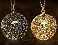 Wholesale Pirates of the Caribbean Aztec Gold Coin Necklace Men Skull Sweater Pendant Jewelry