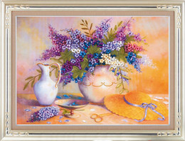 New Arrival Unfinished 3D Ribbons Embroidery Flower paintings Sets handmade needlework embroidery kits ,Lilac 50cmx65cm
