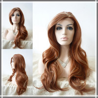 Wholesale brown highlight blonde color as the picture show quot natural wave synthetic lace front wigs heat friendly party wigs